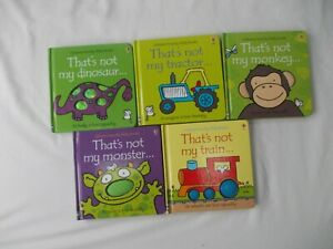 BUNDLE OF 5 X THAT'S NOT MY BOOKS - TRACTOR, DINOSAUR, MONSTER, MONKEY & TRAIN