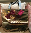 Betsey Johnson XOX Too Too Pretty Rosegold Skull Tote w/ Pink Sequin Bow, NEW