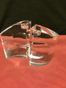 Nambe Full Lead Crystal Heavy Modern Candlestick Holders Handcrafted Slovenia