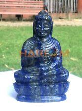"5"" Lapis Lazuli Natural Gemstone Hand Carved Sitting Meditating Buddha Statue"