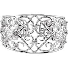 Sterling Silver Filigree Scroll Cuff Diamond Bracelet