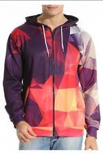 NEW Digital Colour Block Mirror Geometric Zip-Up Mens Hoody Hoodie - Large L