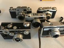 5 Vintage Camera Lot - Argus C3 Rangefinder Riken F=4.5cm Montana Kodak Konica