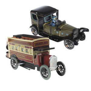 Wind Up Tin Toy Spain Saloon+Double-decker Omnibus Models for Home Ornaments