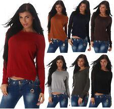 Voyelles Pullover Damen Pulli Strickpullover Sweater