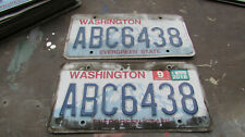 2 Washington State license plates Plate Wa car truck matched pair set - Abc 6438