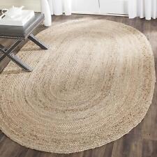 Braided Jute Oval Rug Hand Woven Reversible Decorative Area Floor Rug