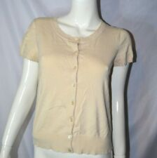 Josephine Chaus M Cream Yellow Button Down Short Sleeve Cardigan Lace Silk Blend