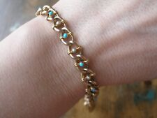ESTATE 9CT YELLOW GOLD TURQUOISE PEARL FANCY LINK CHAIN BRACELET, 8.9 GRAMS