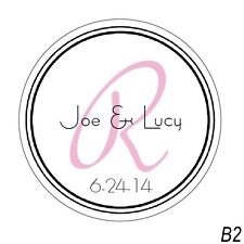 48 Personalized Wedding Favor Round Border Labels Stickers Colors Available