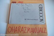 1996 HONDA Accord Owner Owners Owner's Manual