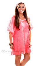 Made in Italy - GITD092C - Coral Two Piece Lace Tunic With Matching Scarf