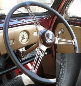 FOR HILLMAN MINX DELUXE 1937-1944 BLACK ITALIAN LEATHER STEERING WHEEL COVER NEW