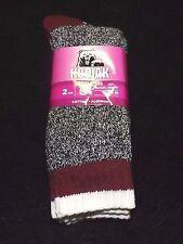 Kodiak thick boot socks 4-10  hosiery new 2 pack warm cozy black burgundy