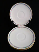 C Ahrenfeldt Depose Limoges Saucer Set Lot 4 Pink Roses Gold Blue Antique