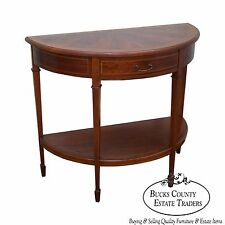 Antique Flame Mahogany Demilune 1 Drawer Console Table