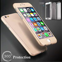 Tempered 360° Full Hybrid Glass + Acrylic Hard Case Cover For Cell Phone 6 6S+