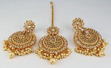 LCT Kundan Golden Wedding Indian Jewelry Traditional AD Women New Earring Tikka