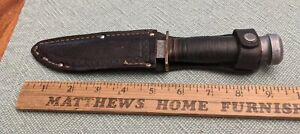"""CAMILLUS CUT CO. LEATHER GRIP 9"""" KNIFE IN KINFOLKS LEATHER SHEATH"""