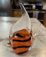 Art Glass Hand Blown Angel Fish Orange Black Paperweight Aquatic Figurine