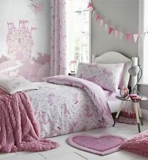 UNICORNS FLOWERS LEAVES WHITE PINK COTTON BLEND DOUBLE DUVET COVER&FITTED SHEET