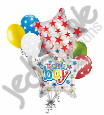 7 pc Bright Stars Happy Birthday Balloon Bouquet Party Decoration Space Universe