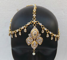 GOLD PLATED KUNDAN MATHA PATTI HAIR HEAD CHAIN BRIDAL INDIAN JEWELRY TIKKA HD102