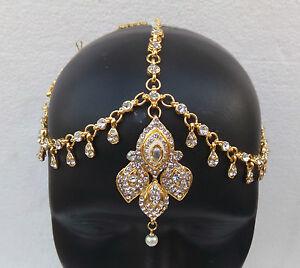 GOLD PLATED KUNDAN MATHA PATTI HAIR HEAD CHAIN BRIDAL INDIAN JEWELRY TIKKA HD102