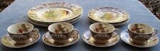 Set for 4 Johnson Brothers  Native American Wild Turkeys Dinnerware ENGLAND Mint