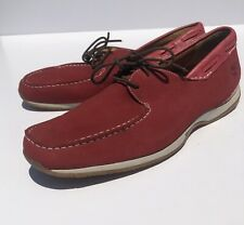 Timberland Mens Size 10.5M Red Leather Slip On Loafer Two Eye Boat Deck Shoes