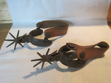 """Early antique Western iron Cowboy Charro spurs inlaid design, 3 1/2"""" rowels"""