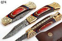 HAND FORGED DAMASCUS STEEL FOLDING POCKET KNIFE W/ BRASS - WOOD HANDLE  AJ 672