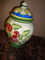 Nonni's Cookie Jar Canister Hand Painted Red Apples & Leaves with Airtight Lid