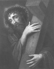 SON OF GOD JESUS CHRIST BEARS CROSS ECCE HOMO ~ 1861 BIBLE Art Print Engraving