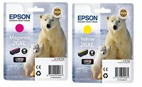 TWIN Epson 26XL T2633 Magenta & T2634 Yellow Polar Bear Ink Cartridges XP-820