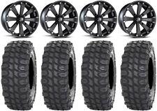 "MSA Black Kore 14"" UTV Wheels 32"" X COMP Tires Can-Am Maverick X3"
