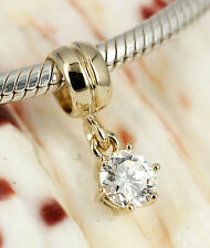 SOLID 9K GOLD BIG Sparkling CZ Dangle Charm BEAD / Pendant Fits Bracelet /Chain