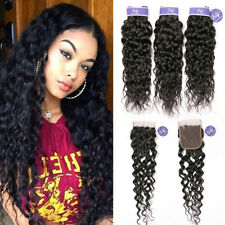 3 Bundles Brazilian Water Wave Virgin Curly Human Hair Weave With Lace Closure