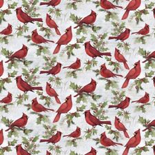 Christmas Bird Cardinals on Scripts Quilt Sewing Quilting Fabric Susan Winget