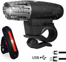 USB Rechargeable LED Bike Bicycle Headlight Cycling Front Rear Tail Light Set UK