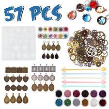 57pcs Moules en Résine Kit Silicone DIY Moule Bijoux Pendentif Artisanat Set FR