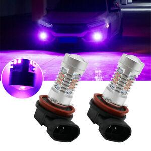 2pcs Pink Purple H11/H8 LED Car Fog Driving Lights DRL Bulbs Lamp Accessories