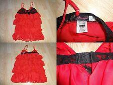 Womens Dreamgirl M Sexy Lingerie Teddy Nighty Night Gown Red Black Ruffles