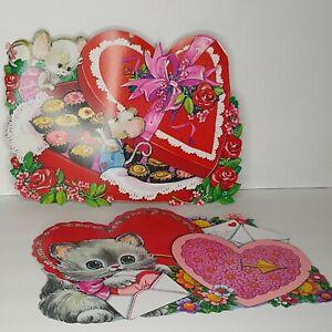 Lot of 2 Vtg Bright Valentine Cardboard Decoration Cat Kitty Mouse Mice