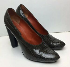 LOUIS VUITTON Grey/Green Patent Alligator Scale Leather Heels Heel Shoes 40 / 7