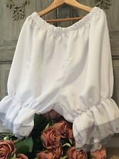 Vintage French Bloomers ~ White Silky Polyester With grey Lace ~ Medium
