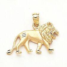 10K Solid Yellow Gold Lion Pendant - Diamond Cut Necklace Charm Men Women