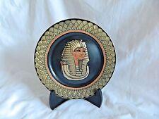 """1 Egyptian Brass Decor Plate King Tut Mask Design Lotus Flower Black Gold 7.75"""""""
