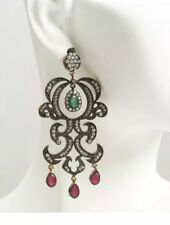 Antique Vintage 925Silver(Rose Gold Over)Drop/Dangle Emerald,Ruby Earrings (19G)