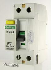 Crabtree starbreaker B32 32 bis 30mA RCCB RCBO INTERRUTTORE AUTOMATICO VIAGGIO-TESTATO